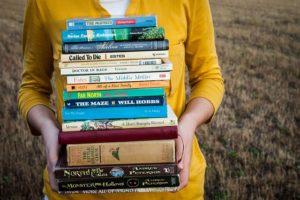 Stack of books - Escape into reading